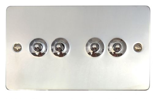 G&H FC284 Flat Plate Polished Chrome 4 Gang 1 or 2 Way Toggle Light Switch